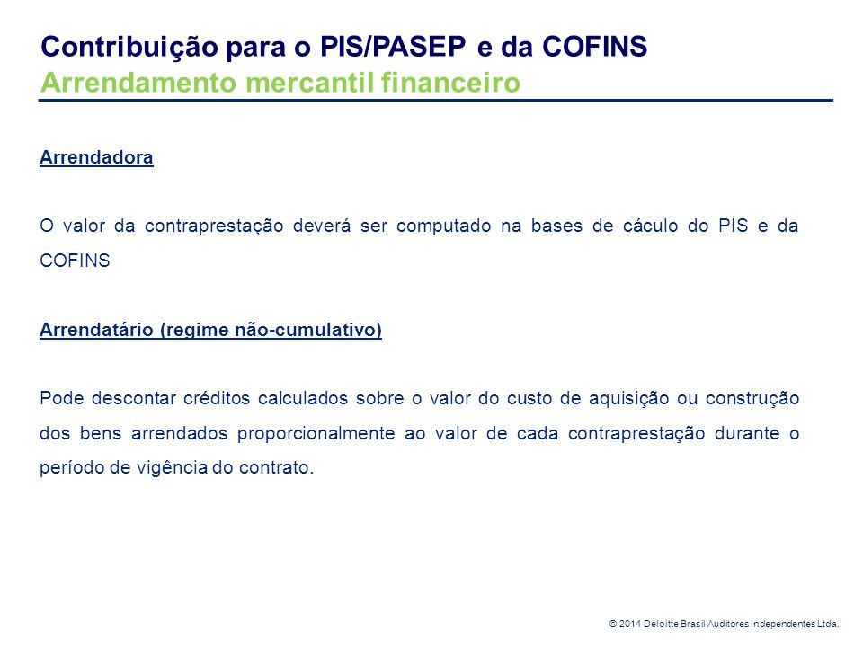 Contribuição para o PIS/PASEP e da COFINS