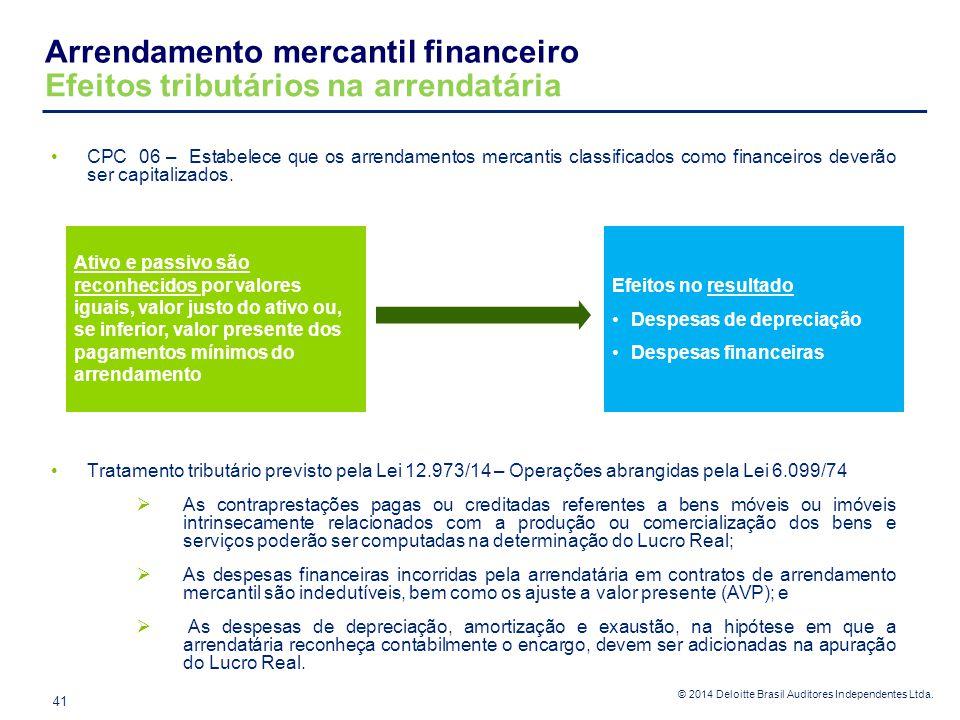 Arrendamento mercantil financeiro Efeitos tributários na arrendatária