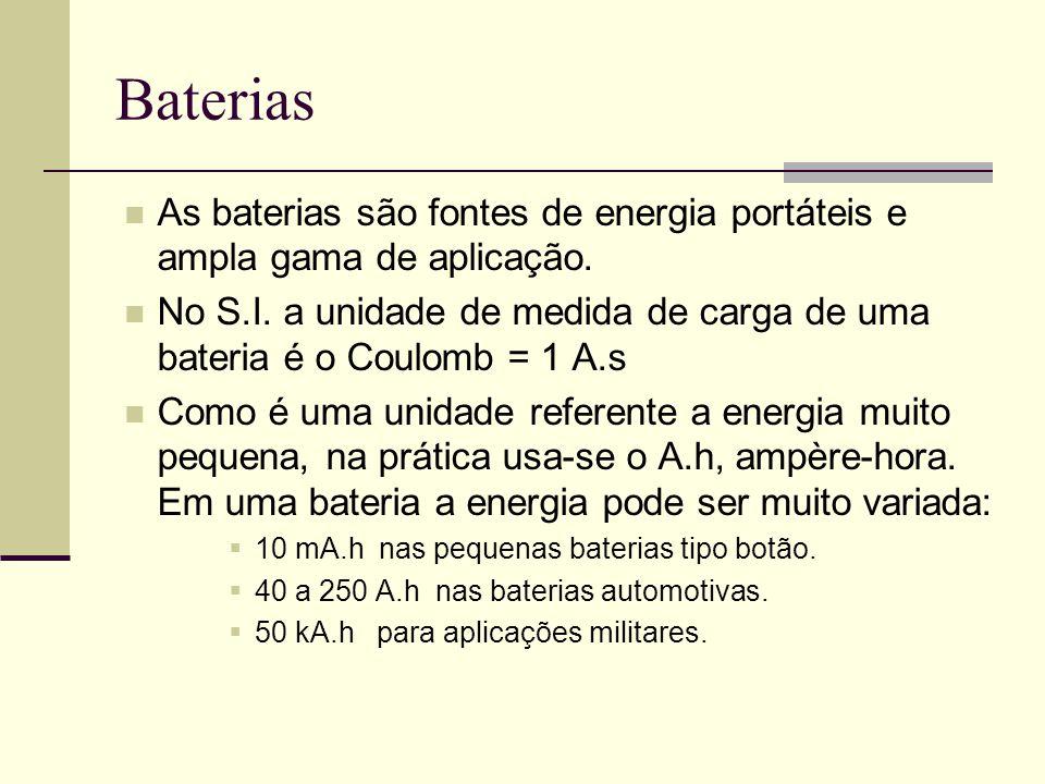 Baterias As baterias são fontes de energia portáteis e ampla gama de aplicação.