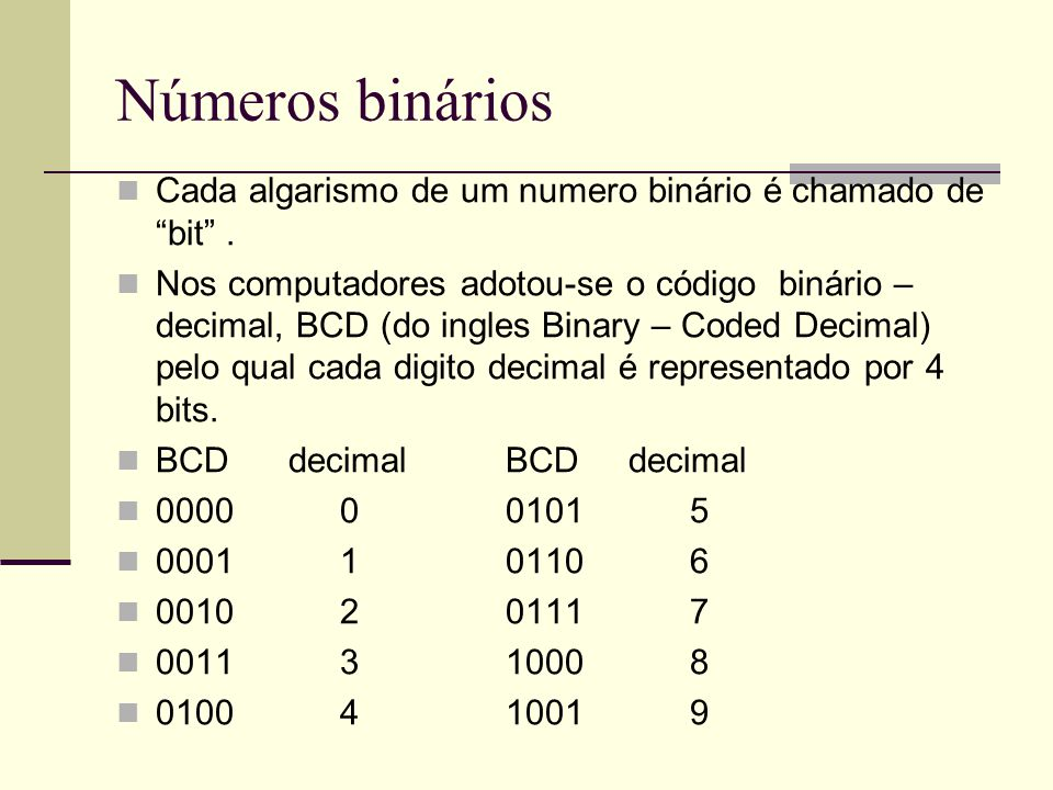 Números binários Cada algarismo de um numero binário é chamado de bit .