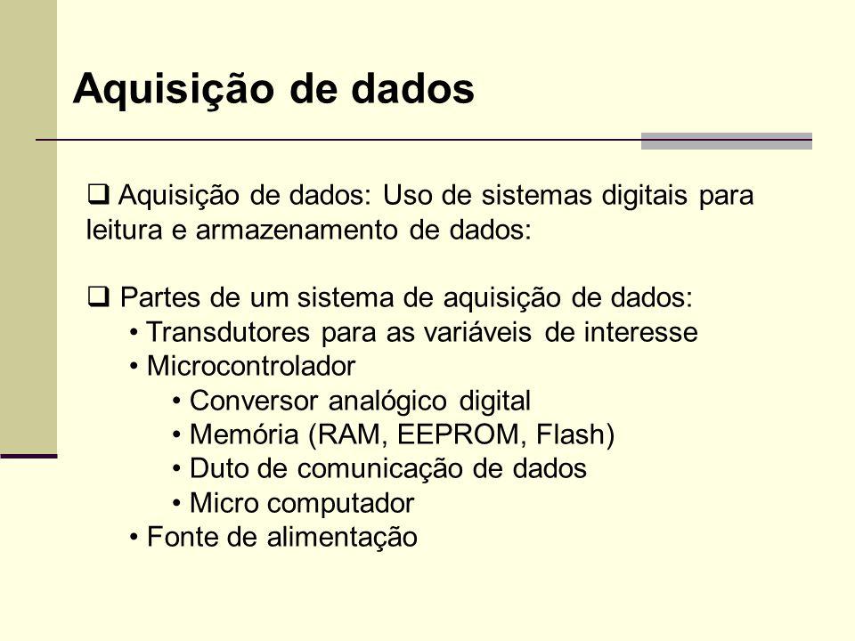 Aquisição de dados Aquisição de dados: Uso de sistemas digitais para leitura e armazenamento de dados: