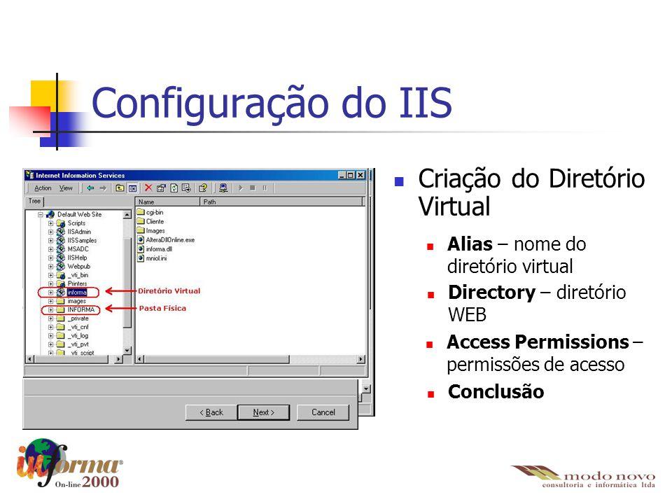 Configuração do IIS Criação do Diretório Virtual