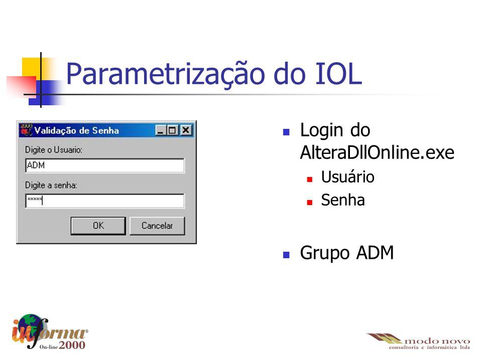 Parametrização do IOL Login do AlteraDllOnline.exe Grupo ADM Usuário