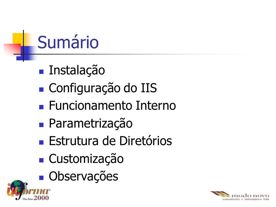 Sumário Instalação Configuração do IIS Funcionamento Interno
