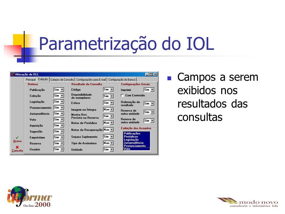 Parametrização do IOL Campos a serem exibidos nos resultados das consultas