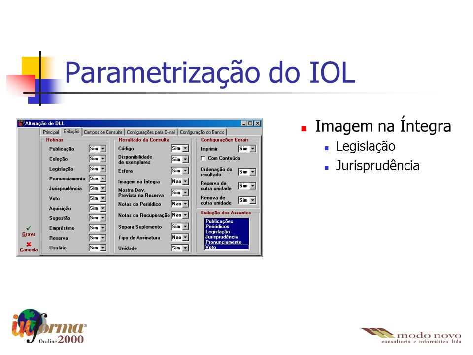 Parametrização do IOL Imagem na Íntegra Legislação Jurisprudência