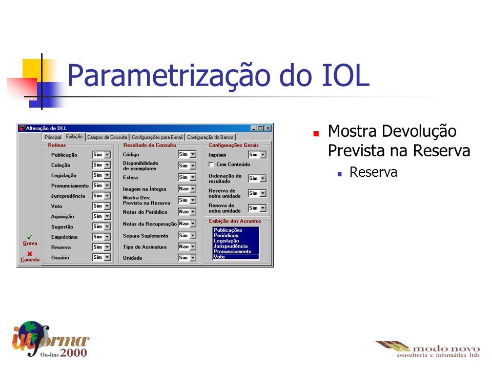 Parametrização do IOL Mostra Devolução Prevista na Reserva Reserva