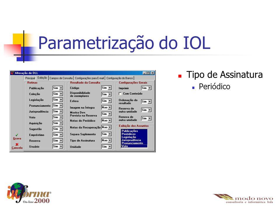 Parametrização do IOL Tipo de Assinatura Periódico