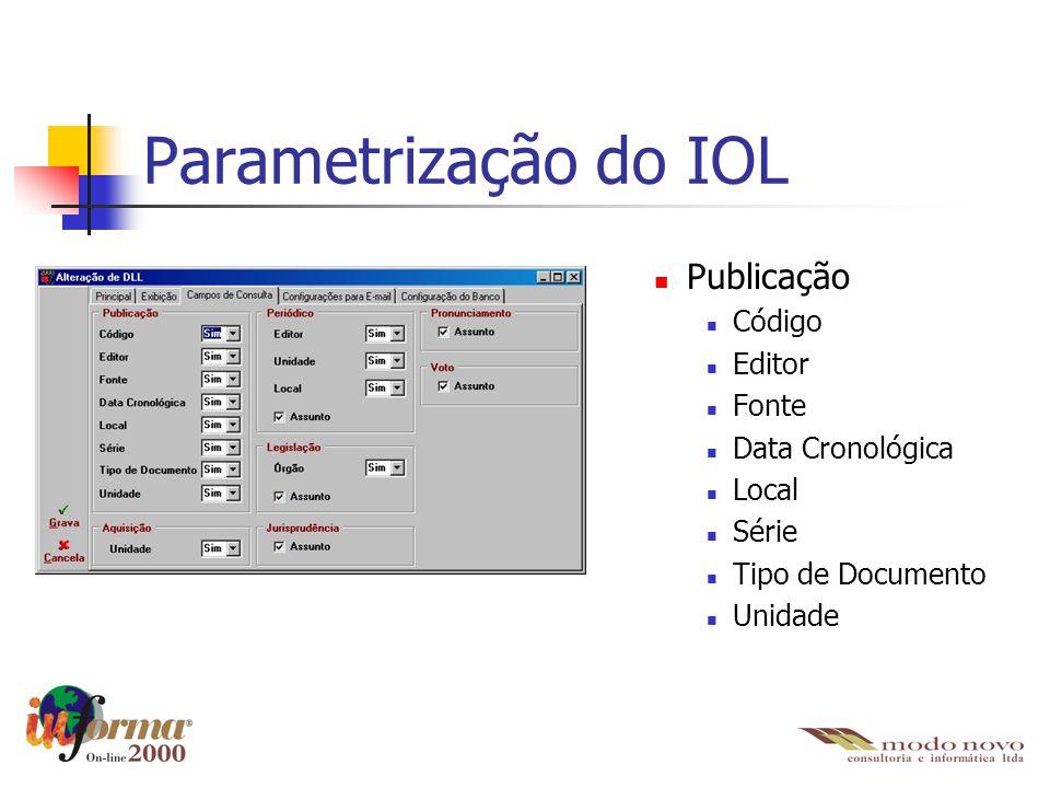 Parametrização do IOL Publicação Código Editor Fonte Data Cronológica
