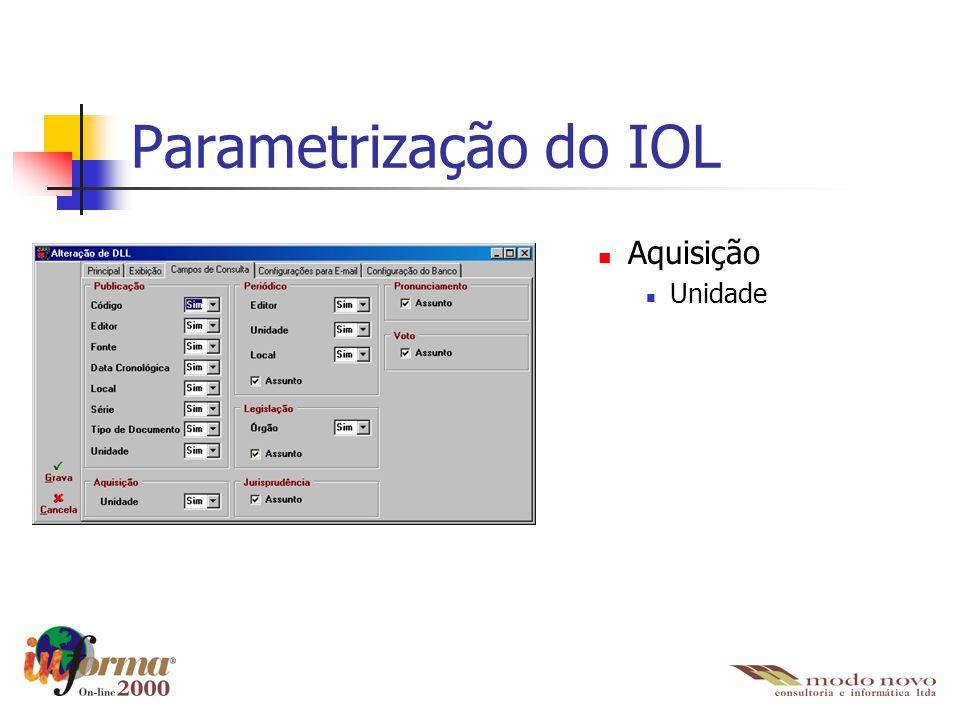Parametrização do IOL Aquisição Unidade