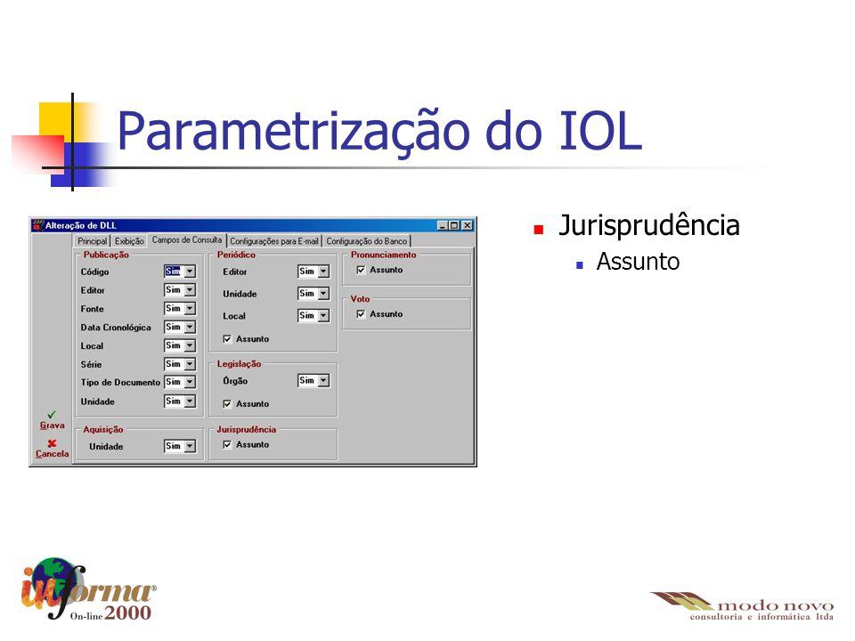 Parametrização do IOL Jurisprudência Assunto