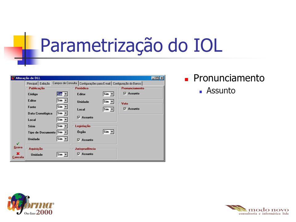 Parametrização do IOL Pronunciamento Assunto