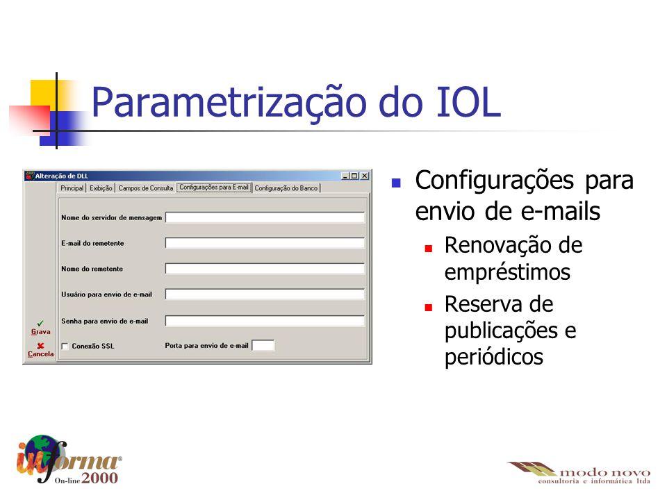 Parametrização do IOL Configurações para envio de e-mails