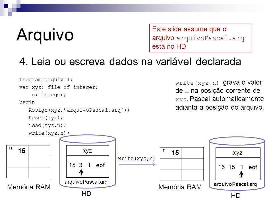 Arquivo 4. Leia ou escreva dados na variável declarada