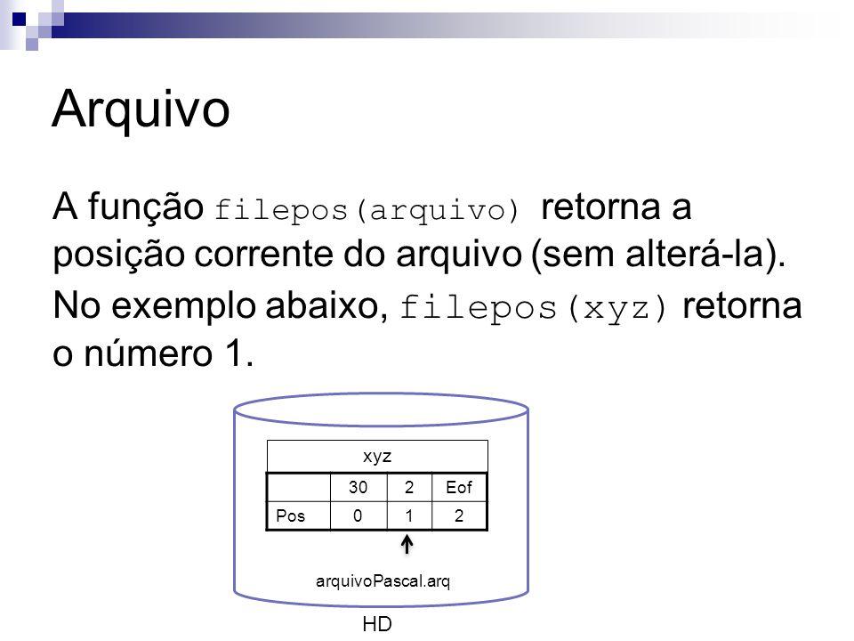 Arquivo A função filepos(arquivo) retorna a posição corrente do arquivo (sem alterá-la). No exemplo abaixo, filepos(xyz) retorna o número 1.