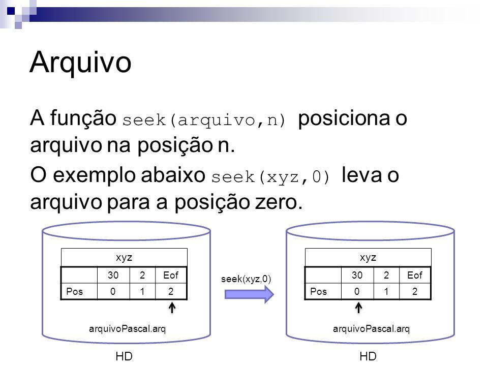 Arquivo A função seek(arquivo,n) posiciona o arquivo na posição n. O exemplo abaixo seek(xyz,0) leva o arquivo para a posição zero.