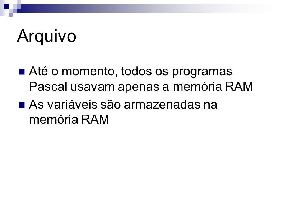 Arquivo Até o momento, todos os programas Pascal usavam apenas a memória RAM.