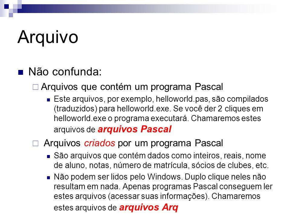 Arquivo Não confunda: Arquivos que contém um programa Pascal