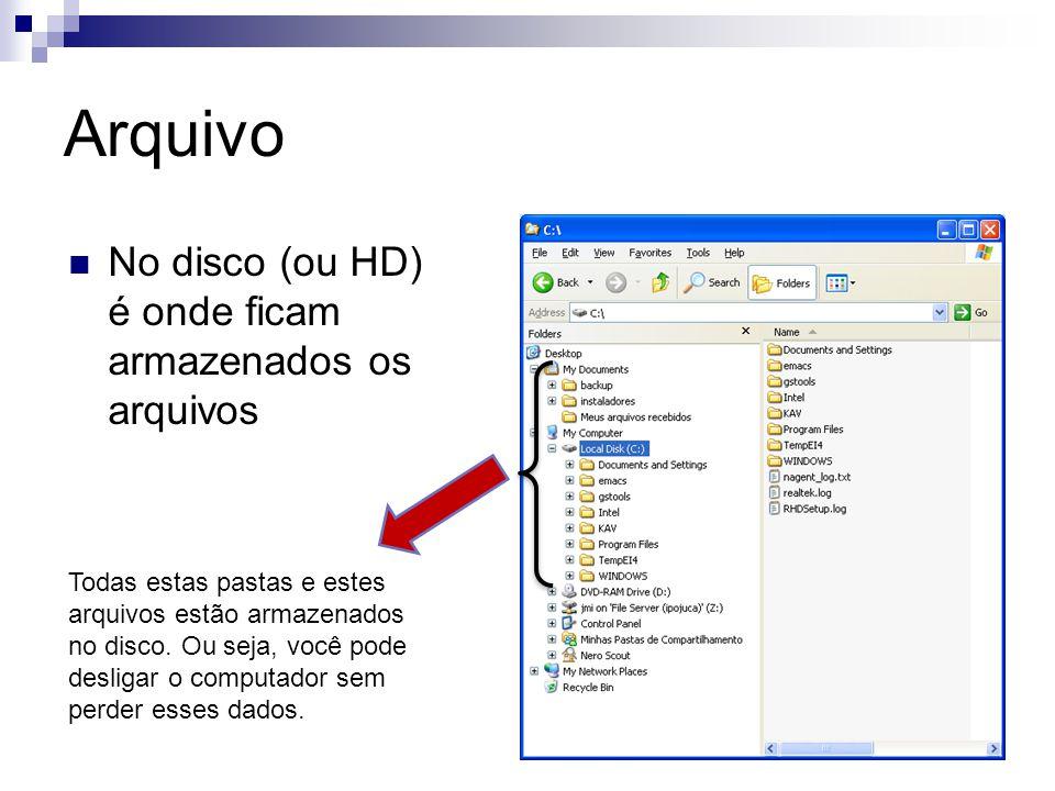 Arquivo No disco (ou HD) é onde ficam armazenados os arquivos