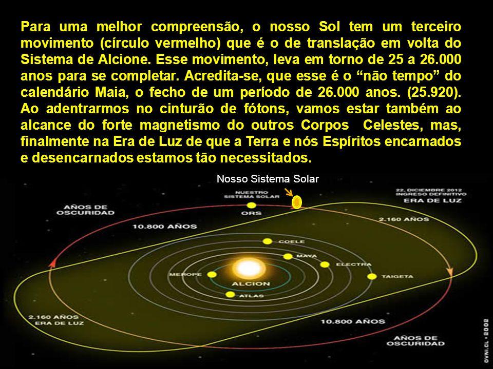 Para uma melhor compreensão, o nosso Sol tem um terceiro movimento (círculo vermelho) que é o de translação em volta do Sistema de Alcione. Esse movimento, leva em torno de 25 a 26.000 anos para se completar. Acredita-se, que esse é o não tempo do calendário Maia, o fecho de um período de 26.000 anos. (25.920). Ao adentrarmos no cinturão de fótons, vamos estar também ao alcance do forte magnetismo do outros Corpos Celestes, mas, finalmente na Era de Luz de que a Terra e nós Espíritos encarnados e desencarnados estamos tão necessitados.
