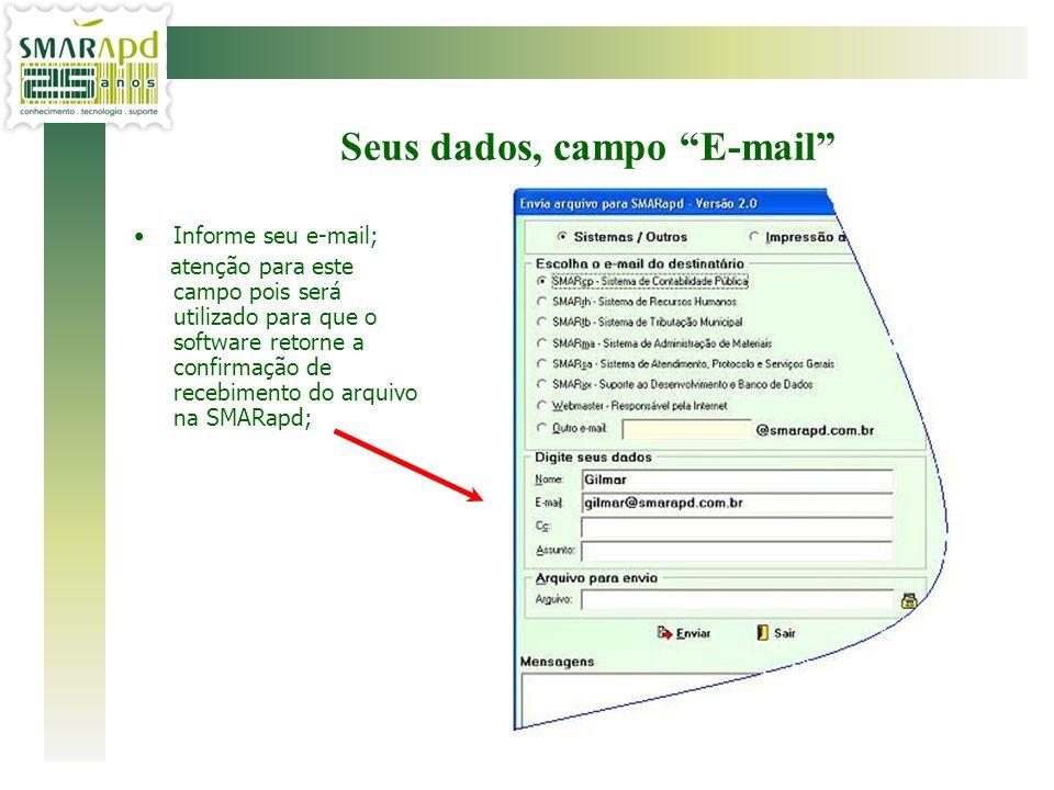 Seus dados, campo E-mail