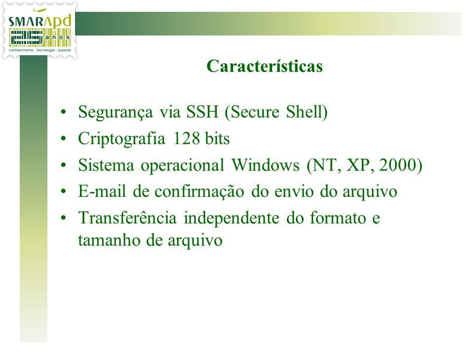 Características Segurança via SSH (Secure Shell) Criptografia 128 bits. Sistema operacional Windows (NT, XP, 2000)