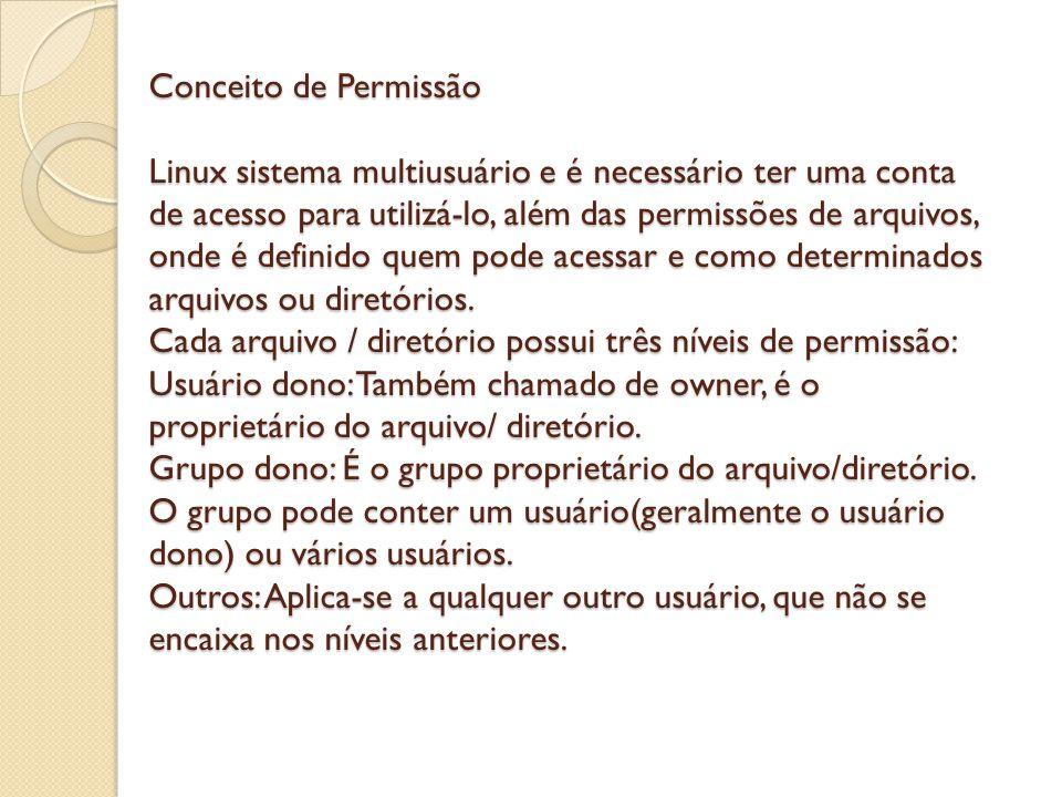 Conceito de Permissão Linux sistema multiusuário e é necessário ter uma conta de acesso para utilizá-lo, além das permissões de arquivos, onde é definido quem pode acessar e como determinados arquivos ou diretórios.