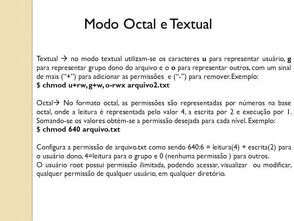 Modo Octal e Textual