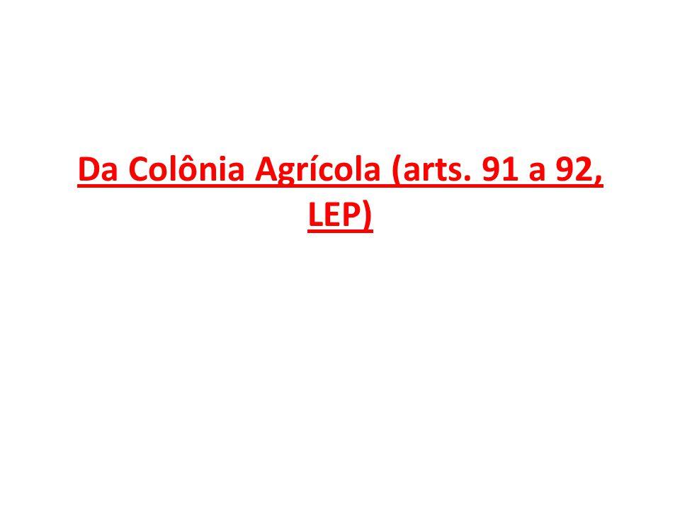 Da Colônia Agrícola (arts. 91 a 92, LEP)