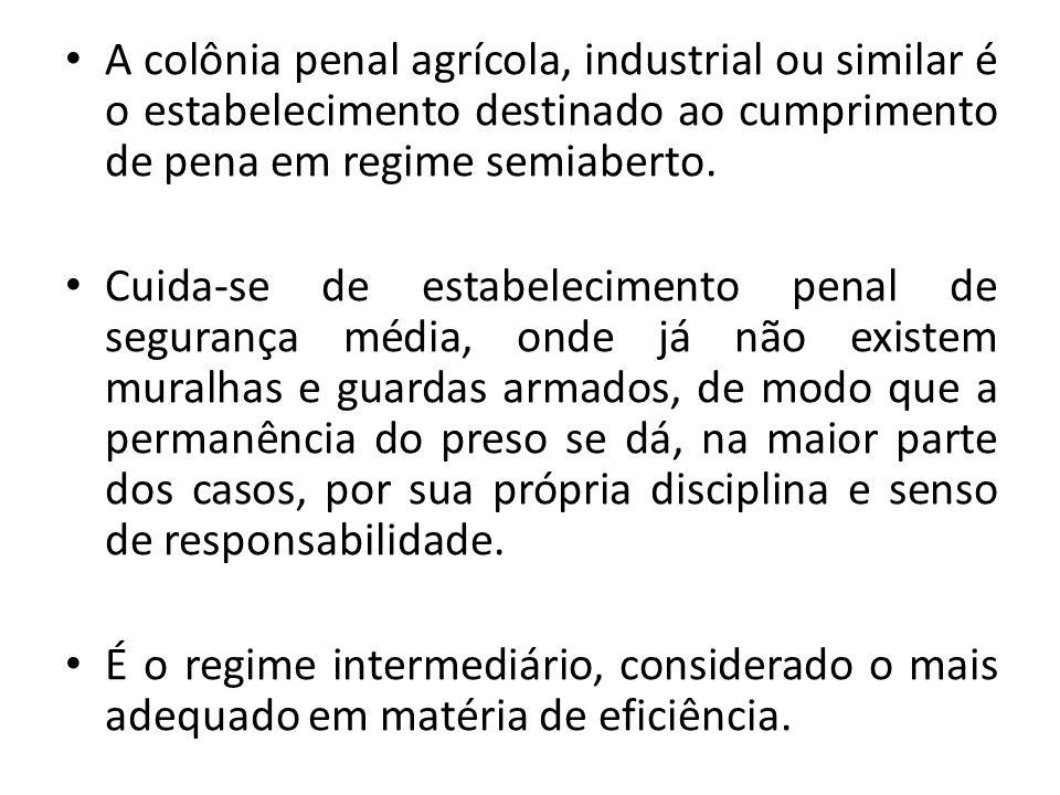 A colônia penal agrícola, industrial ou similar é o estabelecimento destinado ao cumprimento de pena em regime semiaberto.