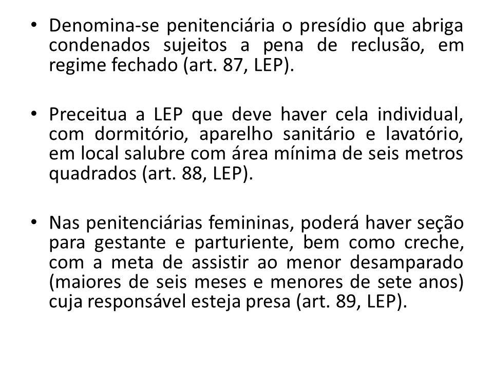 Denomina-se penitenciária o presídio que abriga condenados sujeitos a pena de reclusão, em regime fechado (art. 87, LEP).