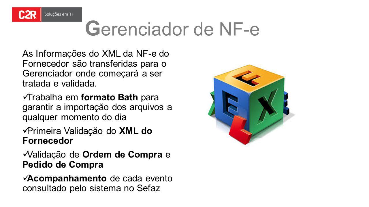 Gerenciador de NF-e As Informações do XML da NF-e do Fornecedor são transferidas para o Gerenciador onde começará a ser tratada e validada.