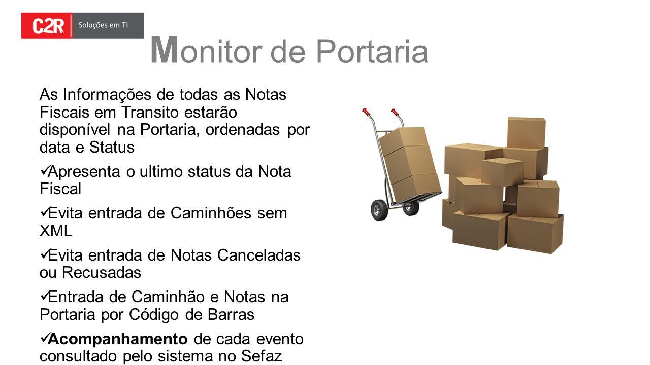 Monitor de Portaria As Informações de todas as Notas Fiscais em Transito estarão disponível na Portaria, ordenadas por data e Status.