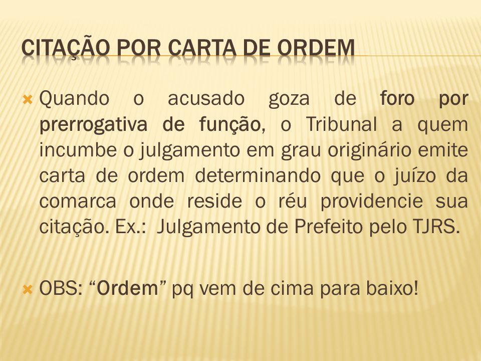 CITAÇÃO POR CARTA DE ORDEM