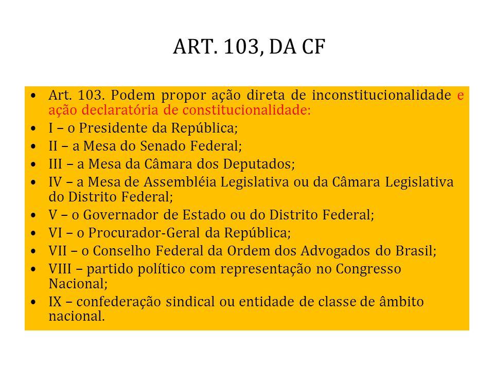 ART. 103, DA CF Art. 103. Podem propor ação direta de inconstitucionalidade e ação declaratória de constitucionalidade: