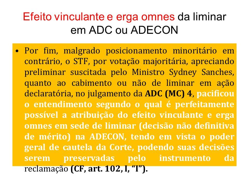 Efeito vinculante e erga omnes da liminar em ADC ou ADECON