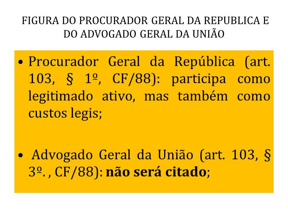 FIGURA DO PROCURADOR GERAL DA REPUBLICA E DO ADVOGADO GERAL DA UNIÃO