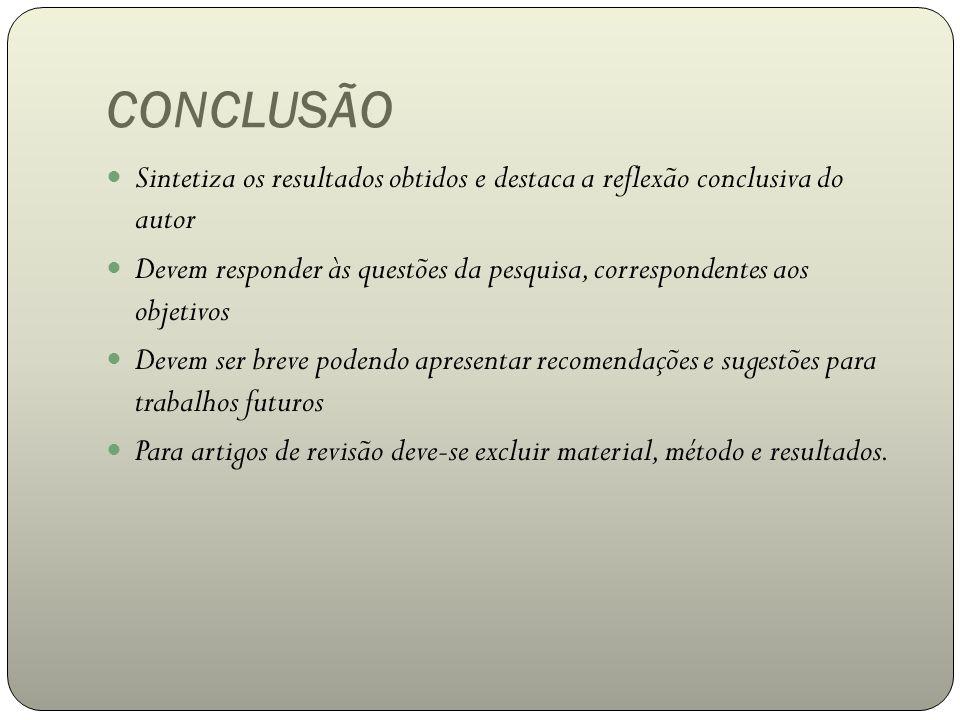 CONCLUSÃO Sintetiza os resultados obtidos e destaca a reflexão conclusiva do autor.