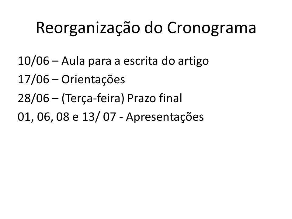 Reorganização do Cronograma