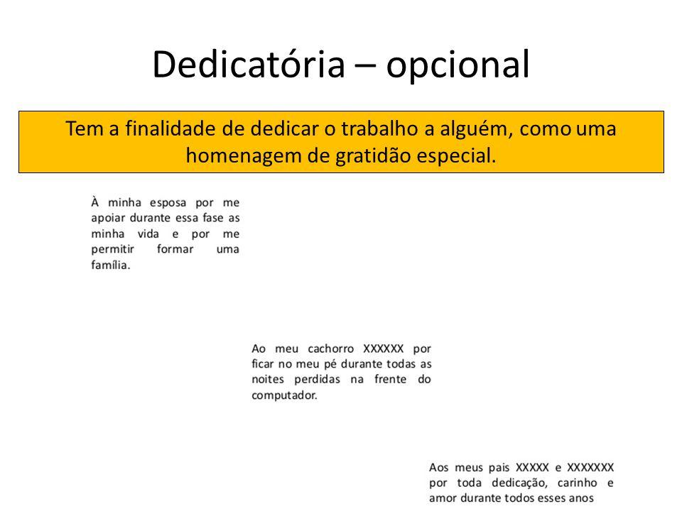 Dedicatória – opcional