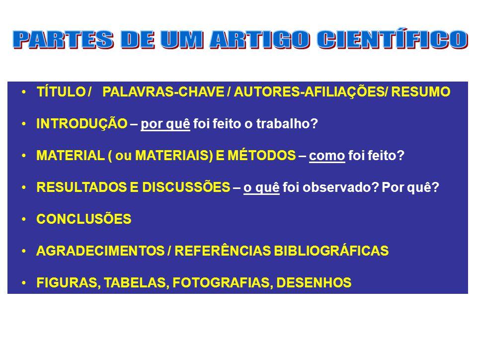 PARTES DE UM ARTIGO CIENTÍFICO