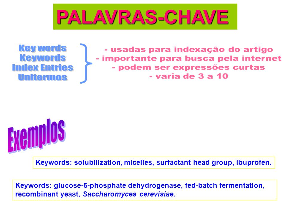 PALAVRAS-CHAVE Key words Keywords Index Entries Unitermos Exemplos