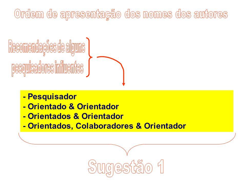 Sugestão 1 Ordem de apresentação dos nomes dos autores - Pesquisador