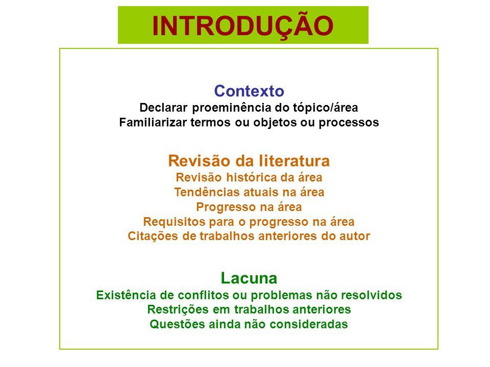 INTRODUÇÃO Contexto Declarar proeminência do tópico/área Familiarizar termos ou objetos ou processos.