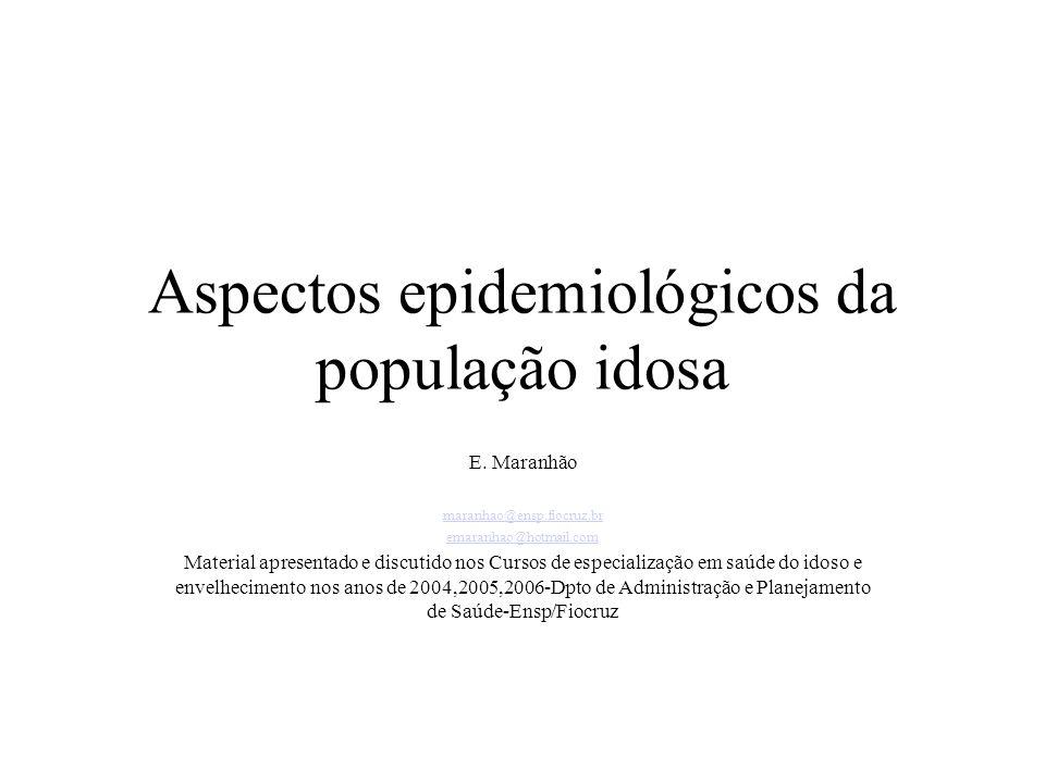 Aspectos epidemiológicos da população idosa