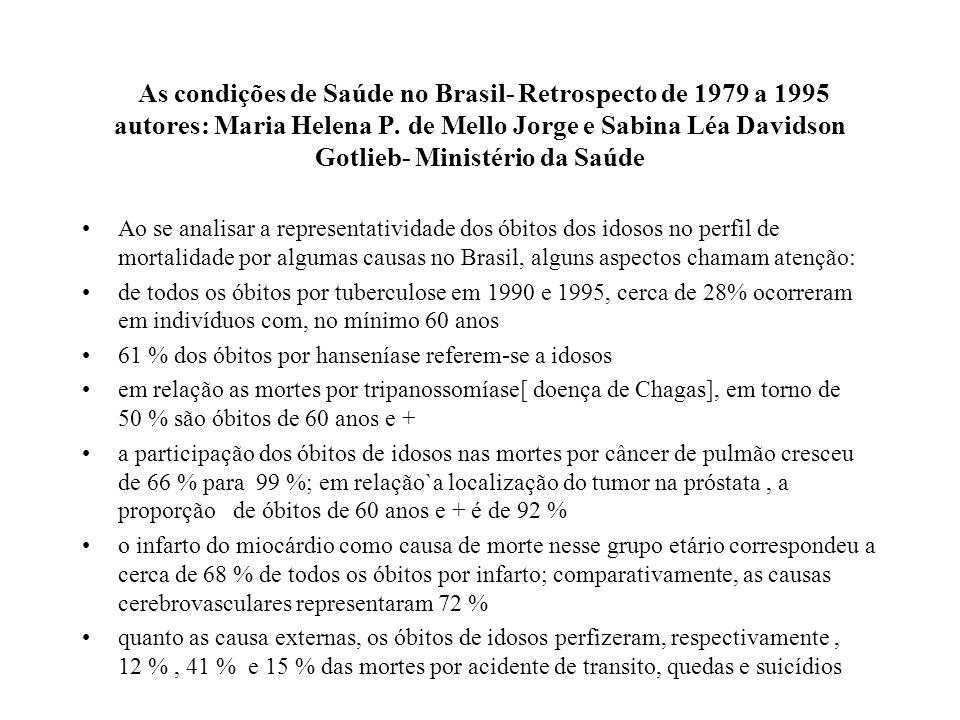 As condições de Saúde no Brasil- Retrospecto de 1979 a 1995 autores: Maria Helena P. de Mello Jorge e Sabina Léa Davidson Gotlieb- Ministério da Saúde