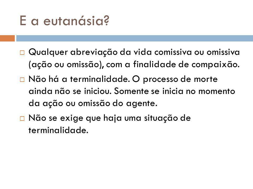 E a eutanásia Qualquer abreviação da vida comissiva ou omissiva (ação ou omissão), com a finalidade de compaixão.