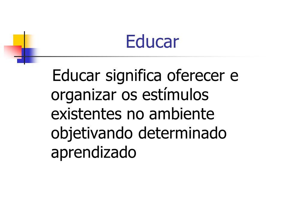 Educar Educar significa oferecer e organizar os estímulos existentes no ambiente objetivando determinado aprendizado.