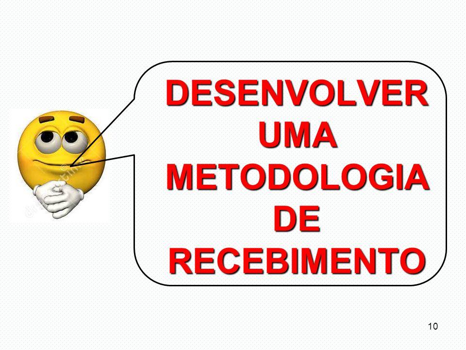 DESENVOLVER UMA METODOLOGIA DE RECEBIMENTO