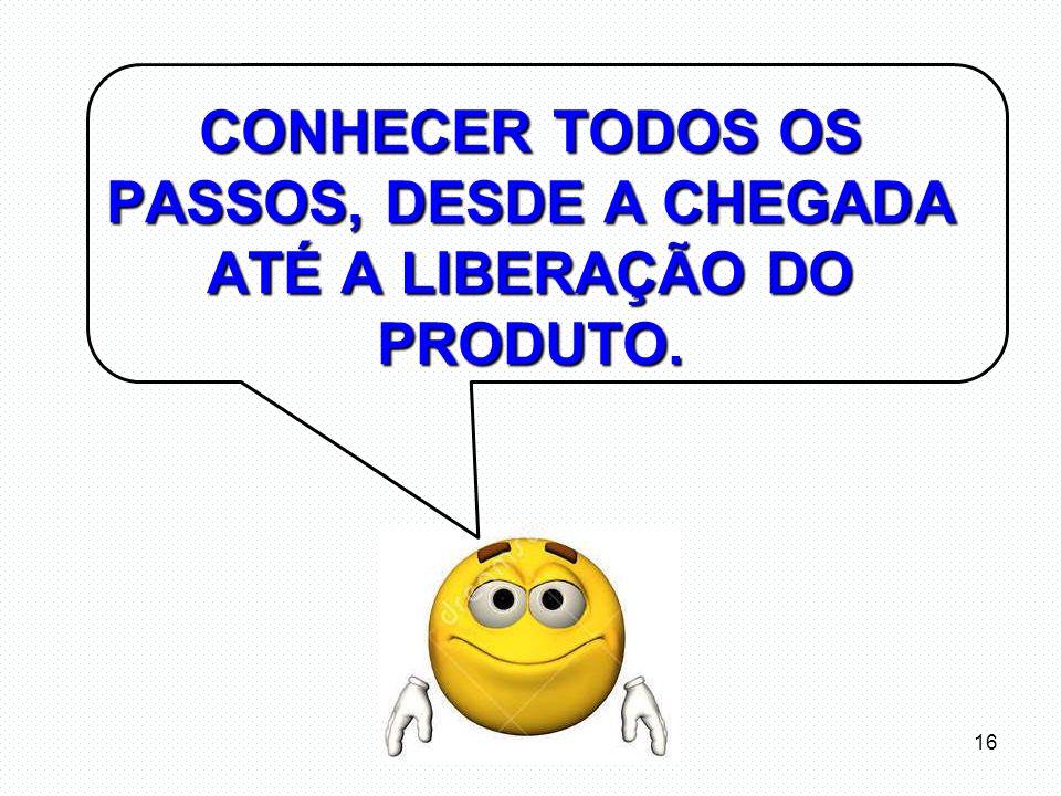CONHECER TODOS OS PASSOS, DESDE A CHEGADA ATÉ A LIBERAÇÃO DO PRODUTO.